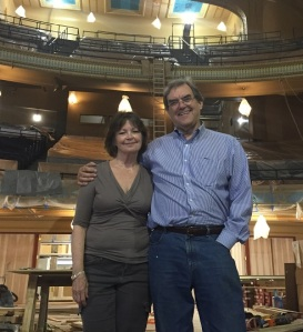 Patti Adams and Jim Atwood are musicians and administrators for the Louisiana Philharmonic. They're pictured in the Orpheum Theater, still under construction.
