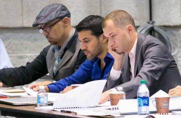 """Librettist Nilo Cruz, Jimmy Lopez and director Kevin Newbury at work on """"Bel Canto"""""""